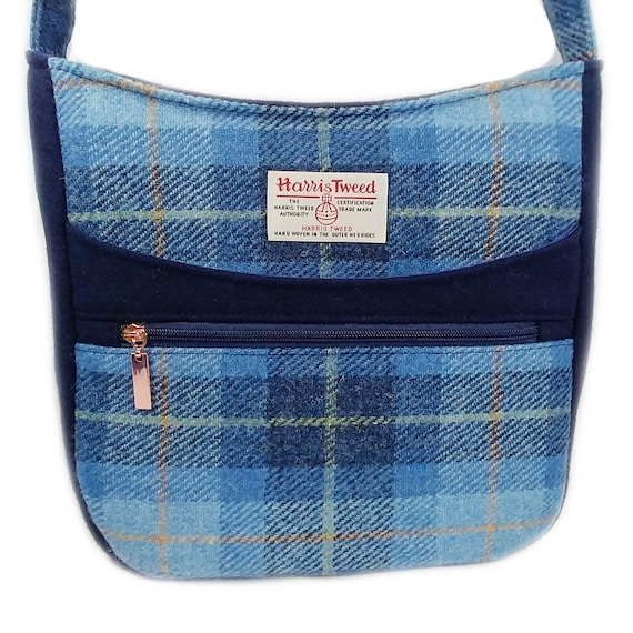Small Canvas Messenger Bag With Harris Tweed in Blue Tartan