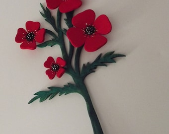Pretty bouquet of poppies hand painted