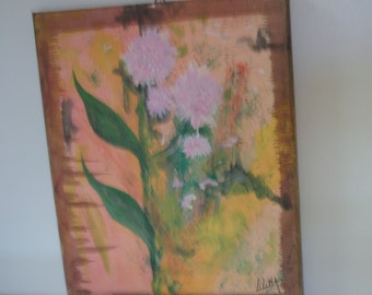 painting on chassie, cotton canvas, acrylic flowers 2009