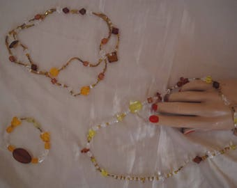 Trio of fall: double strand necklace, bracelet & long necklace.