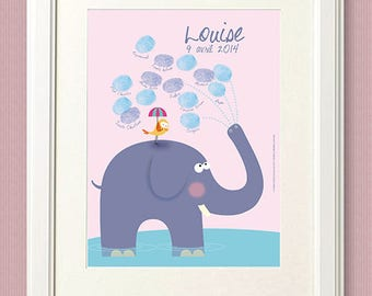 Baby Shower fingerprint / 18x24cm / 10-15 prints / print on paper or canvas