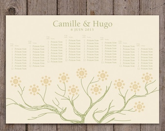 Table plan of wedding coordinated with your fingerprint tree
