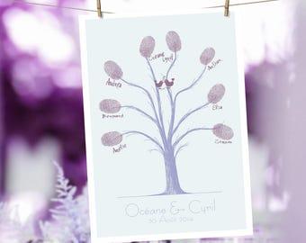 Fingerprint wedding witnesses tree / A4 210x297mm / fingerprint wedding tree new 8 / A4 210x297mm / + 8 fingerprints and signatures