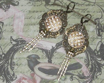 Art Nouveau fairy of RHINESTONE earrings