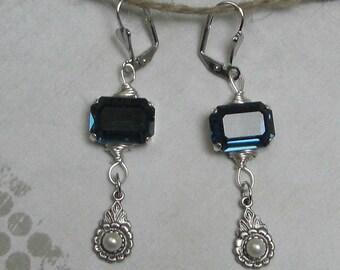BLUE Crystal baroque earrings