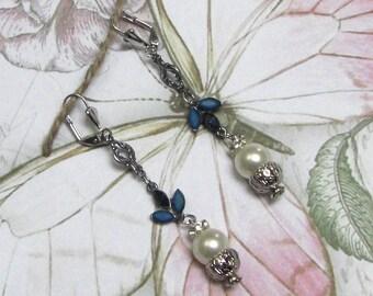 White & blue SWAROVSKI baroque earrings
