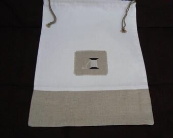 All GM linen embroidered thread reel - unique design bag