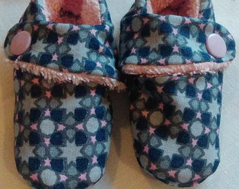 Slippers fabric pink blue and gray