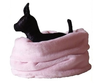 BLACK Nid Douillet - Bedding Dogs or Cats Faux Fur Fabrics - Threeway Bedding (basket, tunnel, carpet) - On Order
