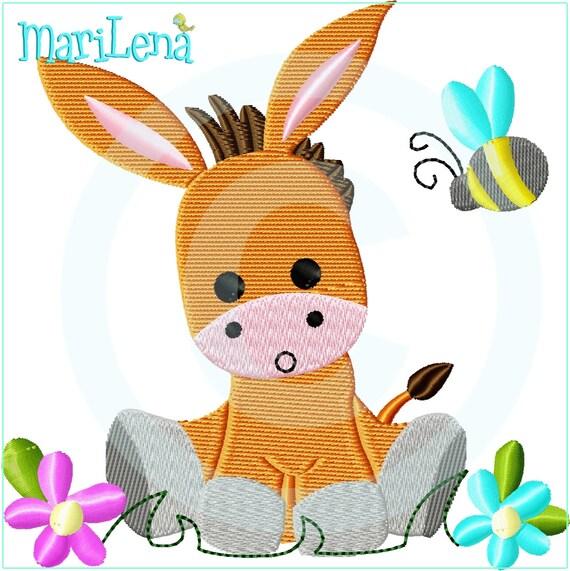 Stickdatei Baby Eselchen Full 13x18 Stickmuster Stickmotiv Embroidery Design Donkey Von Marilena
