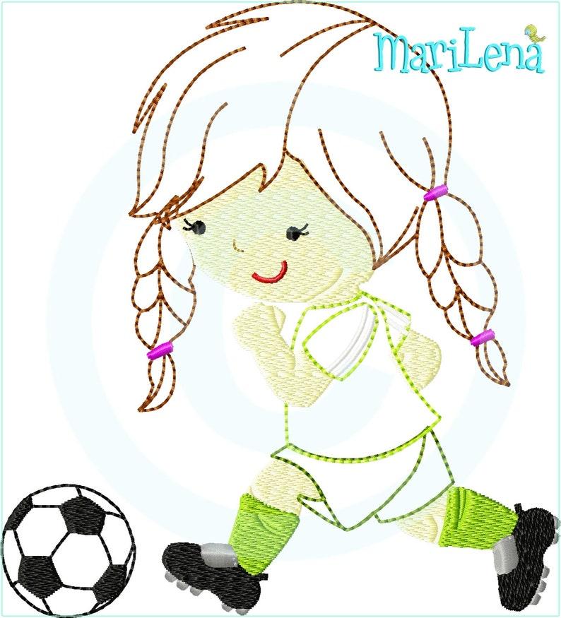 Stickdatei Kleine Fussballerin Appli 13x18 Stickmuster Stickmotiv Embroidery Design Soccer Player Girl Applique Von Marilena