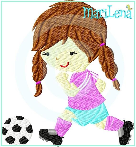Stickdatei Kleine Fussballerin Full 10x10 Stickmuster Stickmotiv Embroidery Design Soccer Player Girl Von Marilena