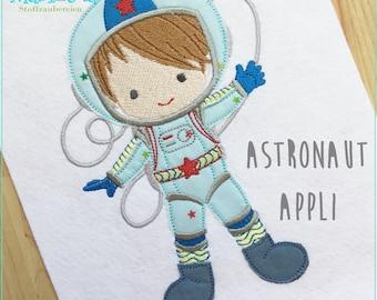 Stickdatei Astronaut Appli  10x10 Stickmuster Junge Stickmotiv  embroidery pattern astronaut