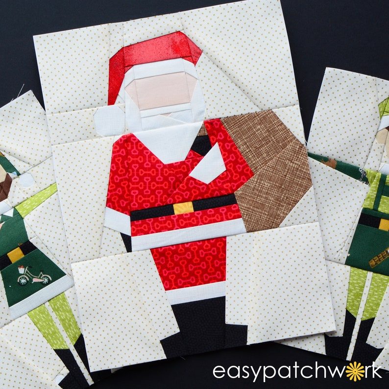 Santa Baby  Foundation Paper Pieced Quilt Block PDF  Instant image 0