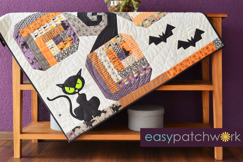 Bad Kitty in the Pumpkin Patch Table  Hardcopy Quilt Pattern image 0