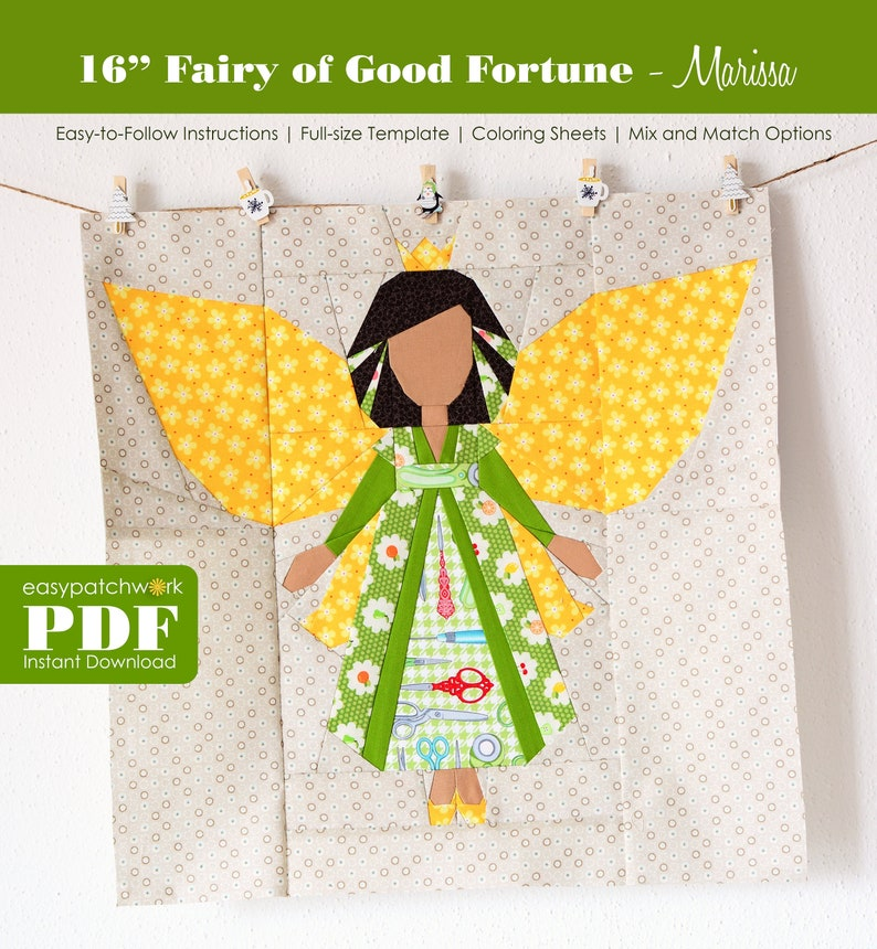 16 Fairy of Good Fortune  Foundation Paper Pieced Quilt image 0