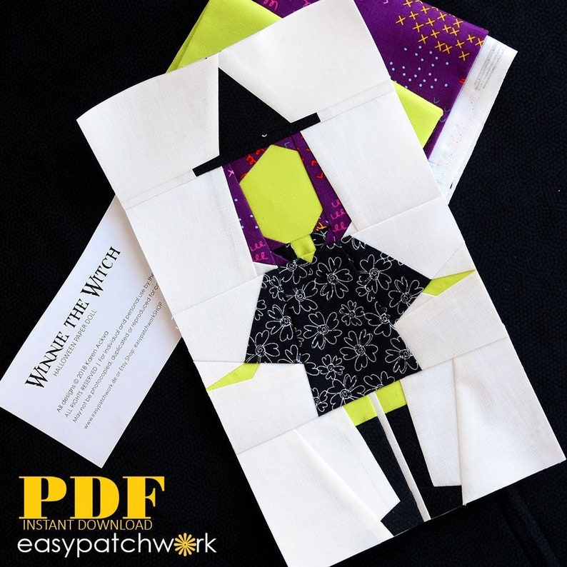 Winnie-the-Witch Foundation Paper Pieced Instant Download PDF image 0