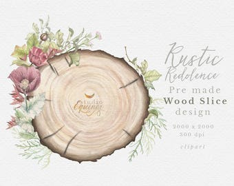 Pre Made Wood Slice Design Rustic Clipart With Poppy Woodland Wedding Invitation