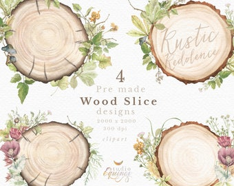 Wood Slices Watercolor Clipart Premade Slice Designs Rustic Tree With Poppy Woodland