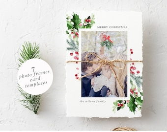 Winter Photo Frame Ready to use Frame Poinsettia Frame Christmas Photo Frame Watercolour Photo Frames Winter Greenery Pine Cone