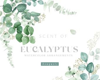 Watercolor eucalyptus arrangement Wedding Watercolor Greenery Greenery Clip Art Eucalyptus leaves DIY clipart.