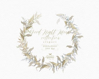 Watercolor Wreath Clipart Fern And Leaves Winter Rustic Autumn Wedding Logo Botanical Blog