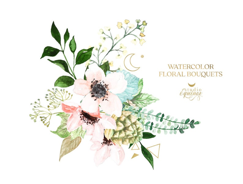 Watercolor Floral Clipart Greenery Crush Watercolor Greenery Foliage Greenery Wedding Watercolor Greenery Floral Bouquets Clipart
