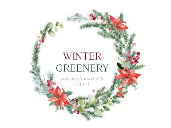 Twigs Wreath Clipart Watercolor Winter Wreath Winter Clipart Woodland Wreath Winter Watercolor Autumn Wreath Leaves Wreath
