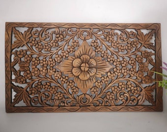 Wood carving, wall decor, flower pattern, beautiful art painting, cheap handmade work.