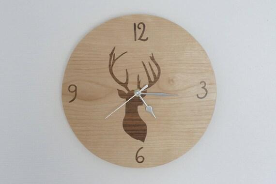 Round Wooden Deer Pattern Clock Etsy