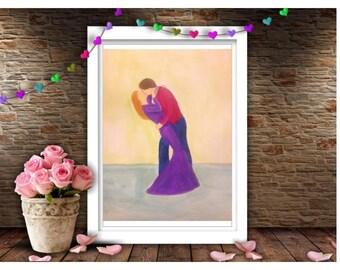 Kiss me - lovers kissing - romantic couple - couple art - home decor - original A4 acrylic painting or print