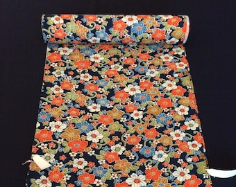 Japanese vintage wool kimono fabric, flowers, sold by the metre, width 36.5cm, Japan import
