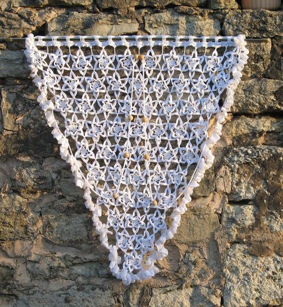 Tür-Vorhang-Dreieck aus weißer Baumwolle häkeln retro | Etsy