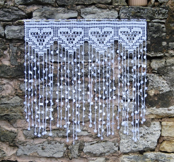 Vorhang retro Vintage Häkelanleitungen Herzen Baumwolle net