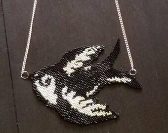 Oldschool miyuki rockabilly swallow necklace