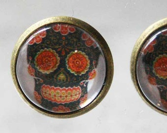 Mexican skull earrings / day of the dead
