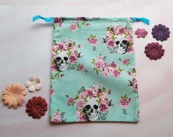 Skull and flowers market bag , Zero waste bag , Bulk bag , Skull bag , Rock , Bohemian