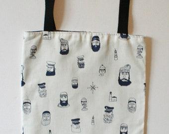 Bag tote bag lightweight lining swallows and retro sailor skulls