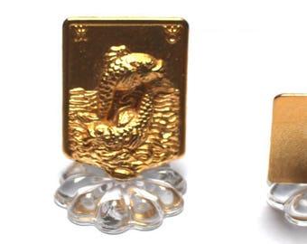 The zodiac sign PISCES, Zodiac horoscope PISCES gold, plated gold metal, glass, Miniature Zodiac, astrology
