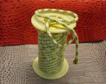 Cord cotton/viscose Ø 8 mm ivory fluorine khaki