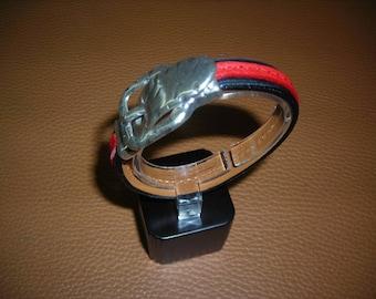 Two-tone flat leather bracelet