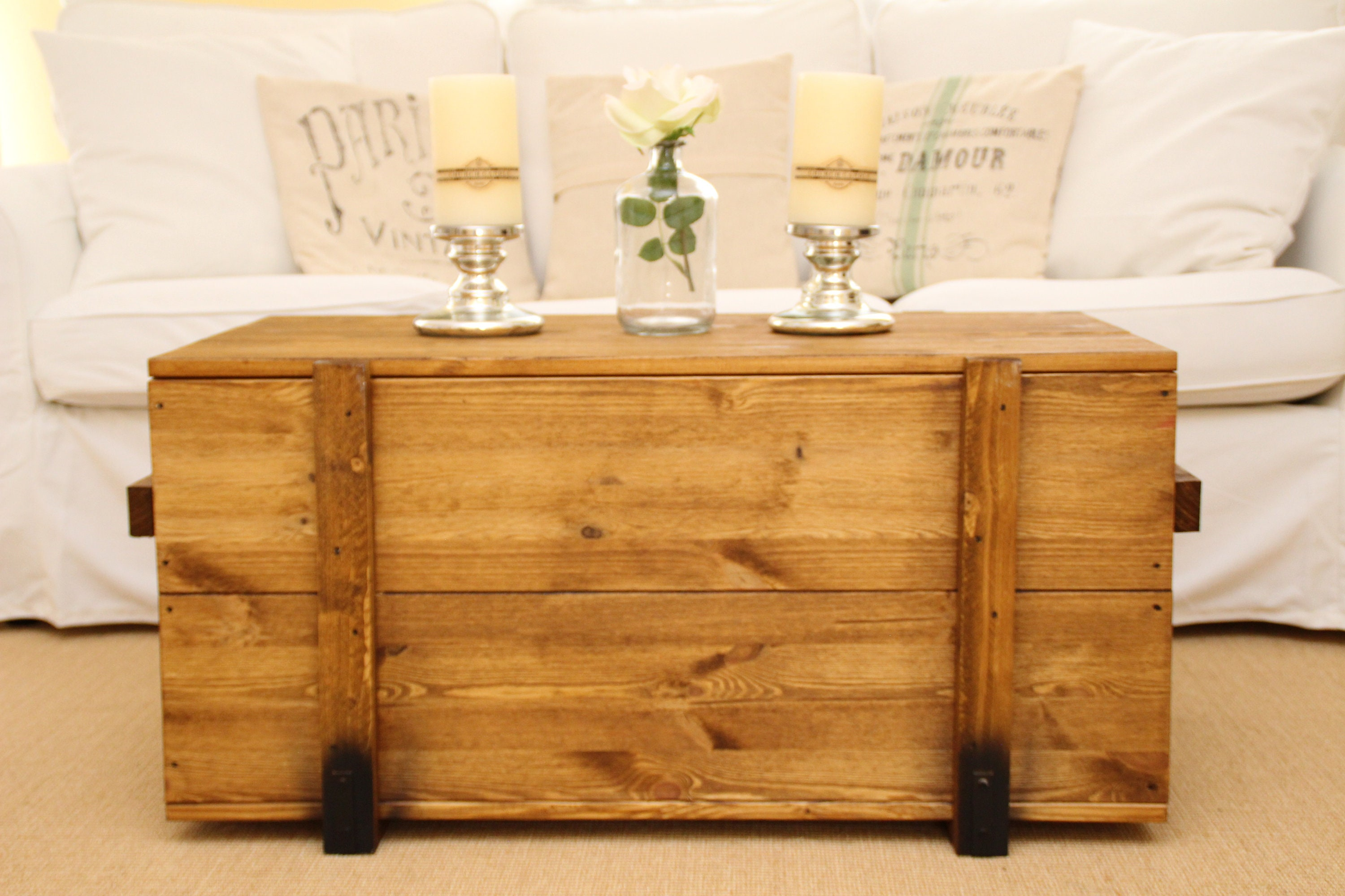 coffee table Chest Wooden Box Vintage Shabby Chic