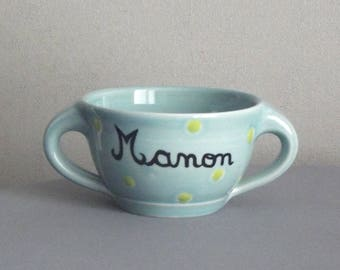 Bowl child handmade personalized name / sky blue to lime green polka dots