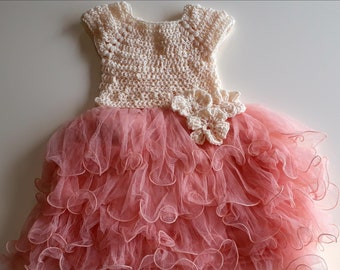 Dress crochet tulle bridesmaid wedding party ceremony 2-3 years old