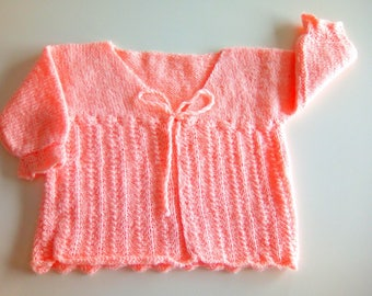 Knitted sweater orange/salmon baby girl 9 months