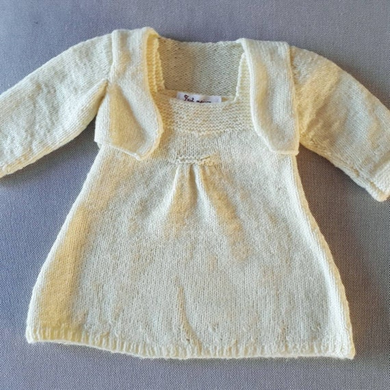 251adc5af Knit set dress and yellow booties baby girl 3 months Bolero