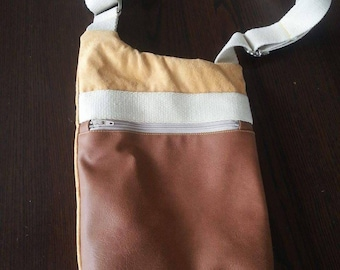 Bop of suede and faux leather satchel bag