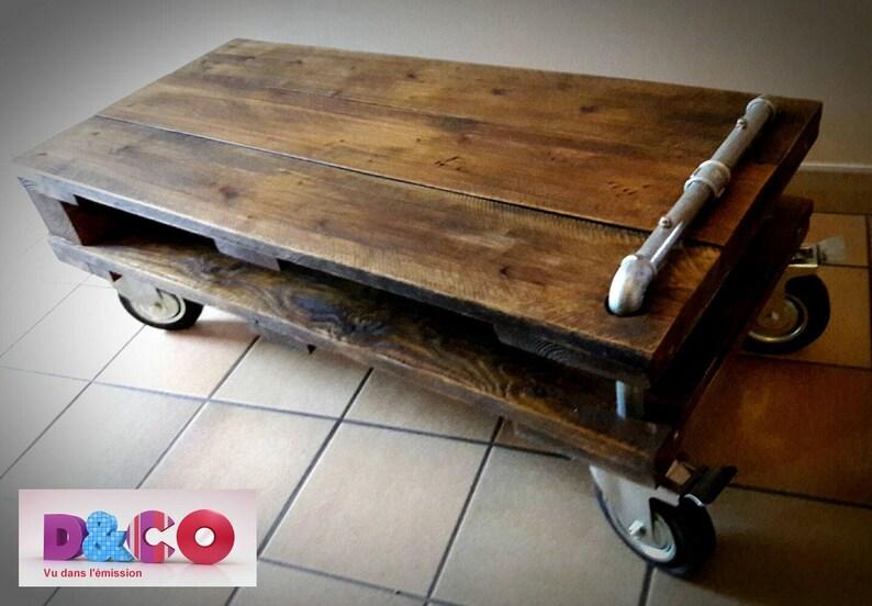 Meuble Tv Table Basse De Salon En Bois De Palettes Et Tube Etsy