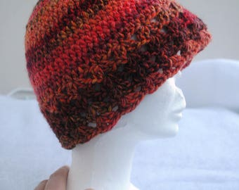 Multicolored hand crocheted wool hat