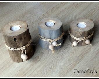 Driftwood candle holder, driftwood candle holder set, trio of candle holders Driftwood